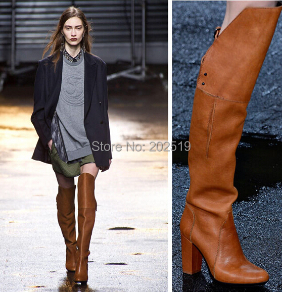 Womens Brown Over The Knee Boots