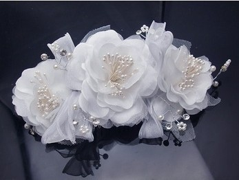 5PX White silky Hair Clip flower pearls crystals Bridal Wedding Tiara Comb Bridesmaids Boutique Free shipping(China (Mainland))