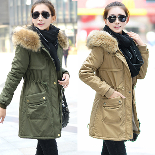 2014 Spring Winter women's Army Green large fur collar wadded jacket medium-long women outerwear thickening cotton-padded - special store
