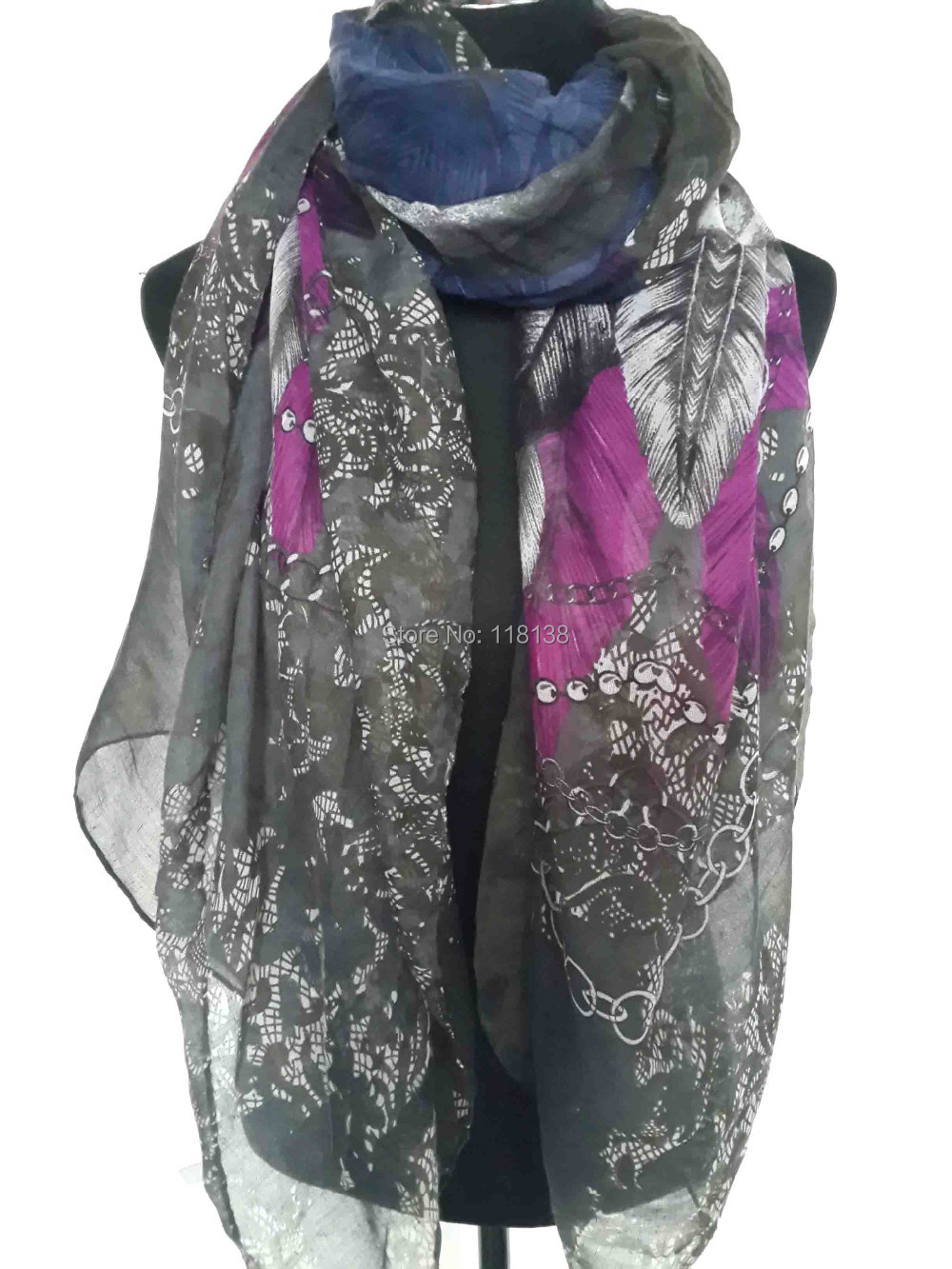 large size feather skull print scarf shawl wrap scarves