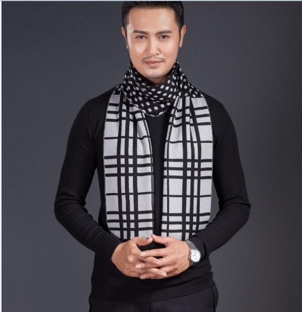 2016 New top fashion striped men's winter scarf long thick knitted scarf