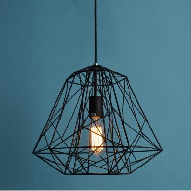 Modern Hive Iron Diamond Cage Lustre Pendant Light Rustic
