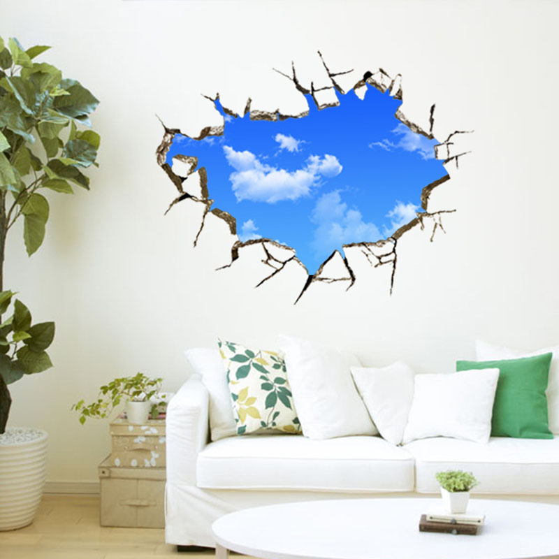 Window Hole Landscape Blue Sky White Cloud 3D Waterproof Wall Sticker Poster Decor for Living Room Bedroom Art Creative Home(China (Mainland))