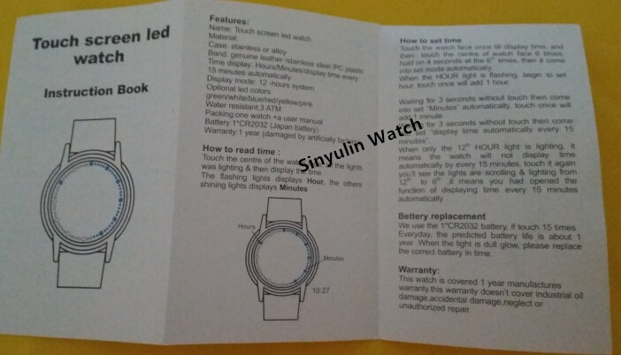 Manual book of LED watch