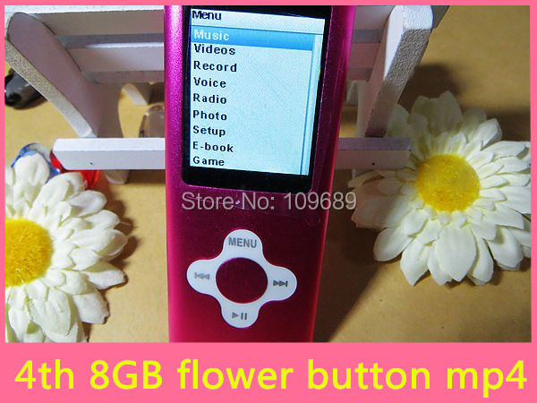 8GB 4th MP3 MP4 music Player Flower Button 1.8'' screen with external speaker 9 Colors available 20PCS only mp4 Free shipping(China (Mainland))