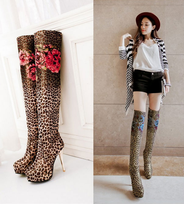 leopard over the knee boots | Gommap Blog
