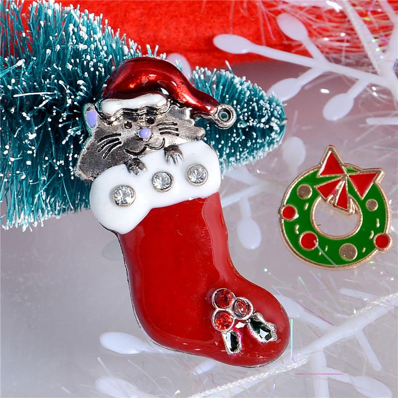 Free Shipping Wholesale Christmas Gift Crystal Brooches Pins Cat Snowman Sock Red Brooches(China (Mainland))