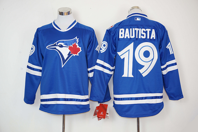 product 2016 New Jose Bautista 19# Baseball Jerseys Men's Toronto Blue Jays Long Sleeve Jersey shirts 100% Embroidery logo