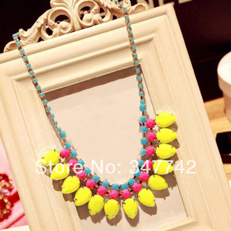 2014 hotting sale chain necklace, fashion colorful rhinestone necklace,fashion red yellow necklace - YiWu Bebillion Jewelry store