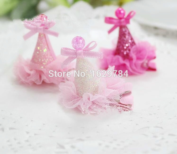 WholesaleTOP Quality New Baby girls Hair Accessories Glitter Bowknot Bead Laces Party Cap Hairclip Girls Party Hat KidsHairDress(China (Mainland))