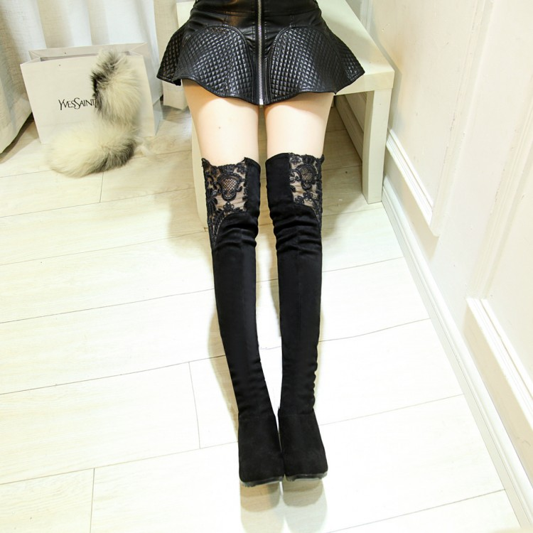 2015 sexy lace flower design long over knee thigh high length women's autumn winter high square heels shoes red black lady(China (Mainland))