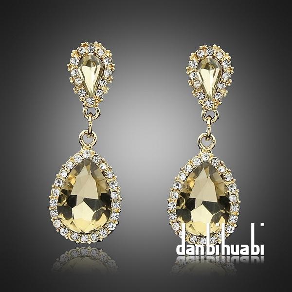 Изумрудный кристалл серьги заполненные шампанское болтается горный хрусталь серьги для женщин сапфир CZ камень brincos букле d'oreille