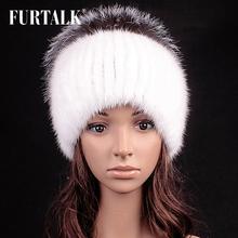 FURTALK fashion natural real mink fur hat real silver fox fur hat for women(China (Mainland))