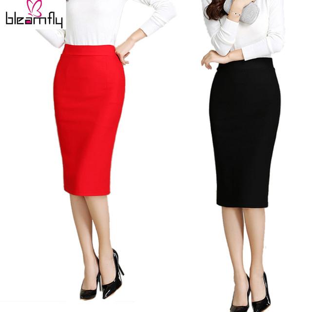 Женщины Юбка 2016 Новый Midi Bodycon Офис Женщины Тонкий Колен высокая Талия Стрейч Сексуальная Карандаш Юбки Юп Роковой Красный Черный Цвет