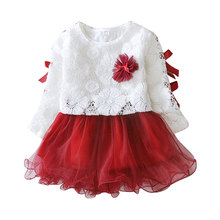 Free Shipping Baby Girls Dress Long Sleeve One Piece Flower Cotton Princess Tutu Dresses Toddler Kids Clothes(China (Mainland))