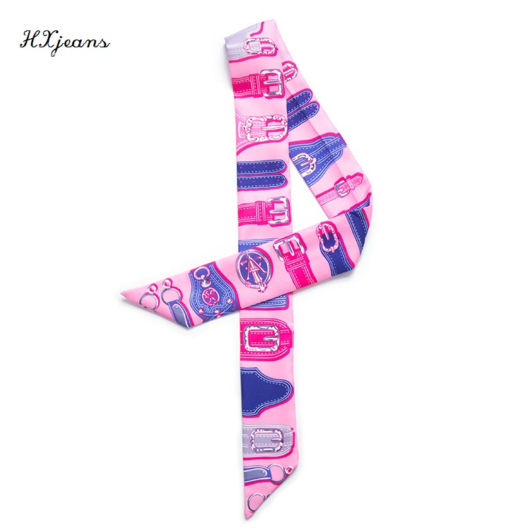 2016 new fashion 5 colors elongated narrow scarf tied bag handle small ribbon scarves lady scarf multifunctional scarf twilly(China (Mainland))