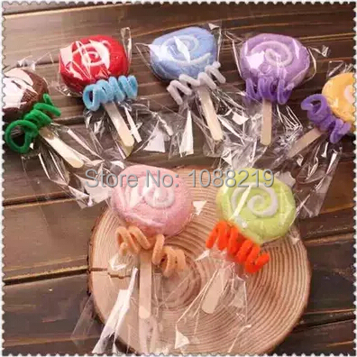 Christmas Gifts And Decorations 5pcs/lot Creative Lollipop Shape Towel Wedding And Baby Shower Gifts Gifts For New Year(China (Mainland))