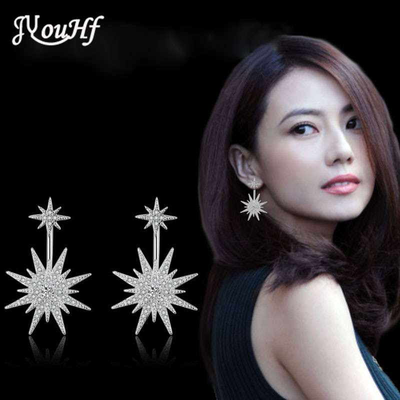 JYouHF Flash Shining Double Star Earrings Full of Cubic Zircon Hyperbole After Hanging Earrings for Women Party Fashion Jewelry(China (Mainland))