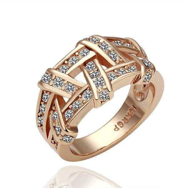 18K Rose Gold / White Gold Plated Weave Ring Health Jewelry Nickel Free K Golden Plating CZ Diamond ZYR284 ZYR285(China (Mainland))