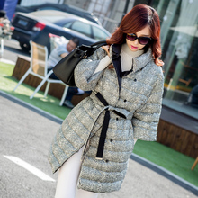2015 new fashion lady's half-self in the long section of stand collar belt buckle down jacket plaid button warm outwear