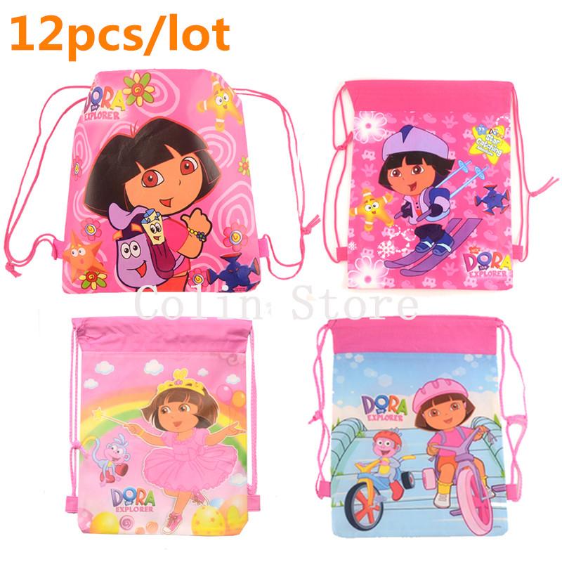 12 pcs/lot dora school bags children cartoon drawstring backpack bag For kids students back to school mochila infantil(China (Mainland))