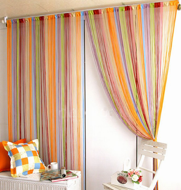 Free shipping, 100 * 200cm Line Curtain Indoor upscale Decor Hotel bedroom Curtain Multicolor optional(China (Mainland))