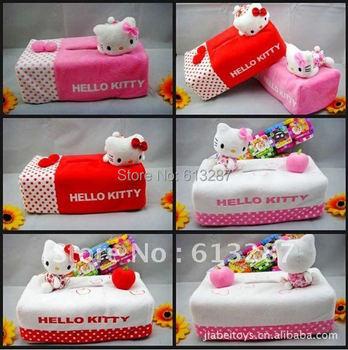 Kawaii Lying&Seated Hello Kitty Plush Tissue Pumping Box Case Holder; Napkin Box Case Pouch Retail KCS