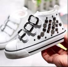 2019 yeni çocuk kanvas ayakkabılar prenses ayakkabı çocuk ayakkabıları yüksek top deri rahat ayakkabılar moda Liu Ding Martin çizmeler(China)