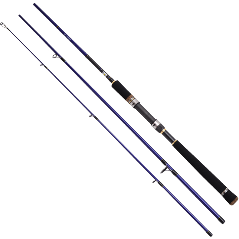 New 2.4M / 2.7M / 3M High 98% Carbon Fiber Bass 3 Sections Segments MH Fast Spinning Lure Fishing Rod Plug Casting Rod(China (Mainland))