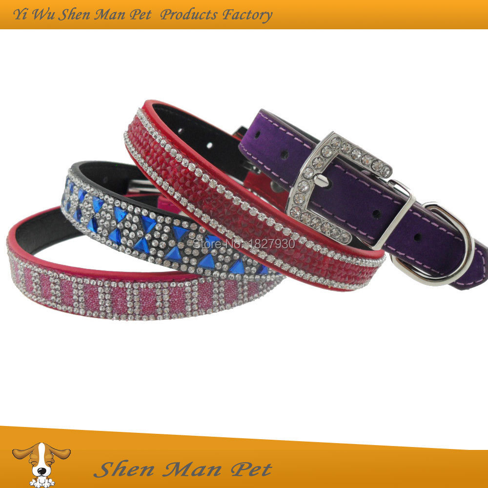 S M L Bling Crystals Rhinestone Adjustable Red Black Purple Rose Flocking Leather Pet Dog Collar for Dog(China (Mainland))