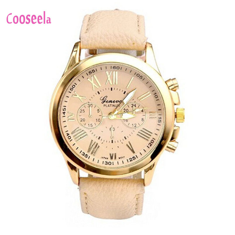 Cooseela 2015 New Geneva Roman Women's Fashion Numerals Faux Leather Analog Quartz Wrist Watch Hot(China (Mainland))