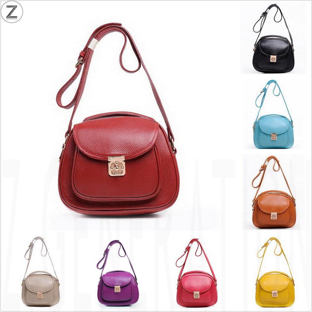 Genuine Leather Saddle Bag Shell Women Shoulder Cross body Medium Solid Zipper Summer Casual School Handbag Purse 2015 New(China (Mainland))