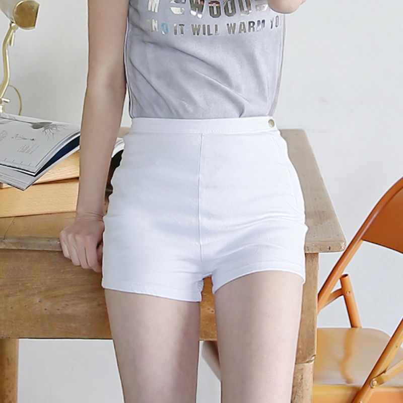 Womens White Stretch Shorts