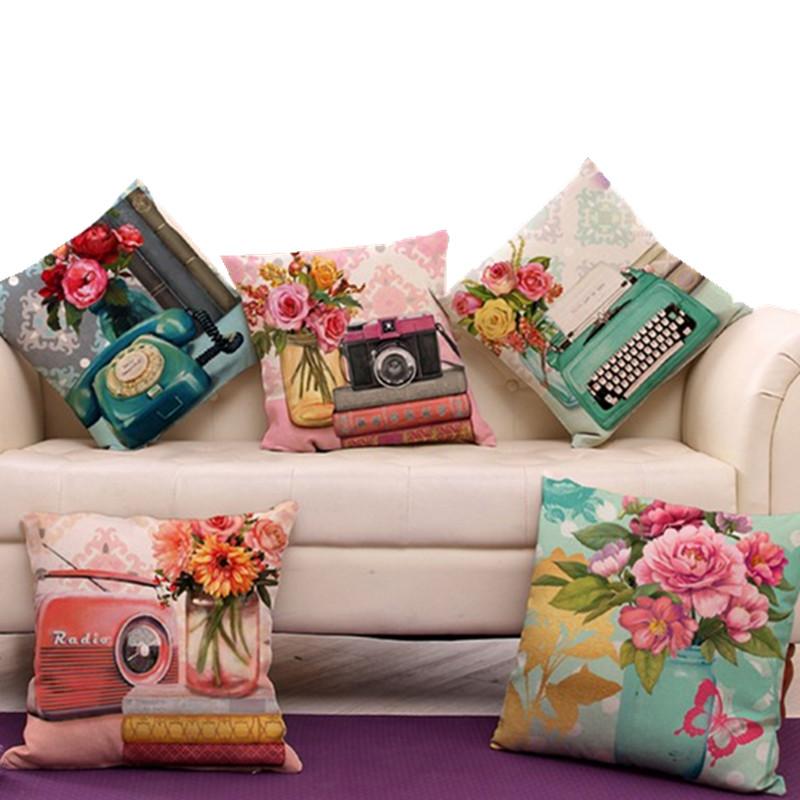 "Vintage Carema Telephone Pillow Cover Retro Radio Home Decor Cushion Cover Linen Cotton Throw Pillows Pillowcase Pillowsham 17""(China (Mainland))"
