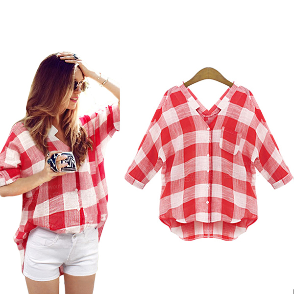 Women red plaid shirts blouse 2015 fashion casual plus Womens red plaid shirts blouses