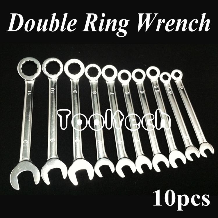 Гаджет  Freeshipping Metric 10 sizes Chrome Vanadium Steel Ratchet Wheel Dual-use Open / Ring Spanner Combination Wrenches Set Tools Kit None Инструменты