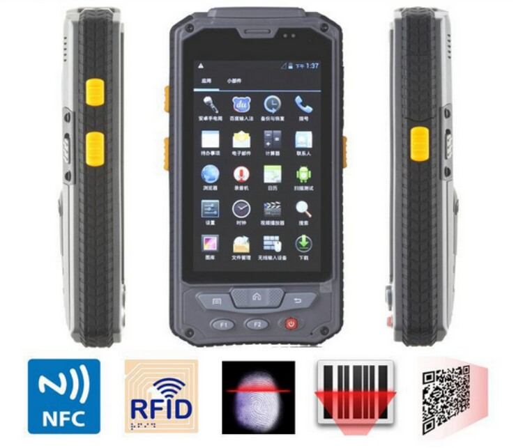 "Barcode Scanner Android Wireless Handheld Terminal Fingerprint 1D 2D Laser 4.3"" PDA RFID NFC 3G Data Collector Rugged Cell phone(China (Mainland))"