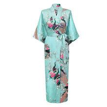 Light Green Female Long Night Robe Women's Kimono Bath Gown Bathrobe Sleepwear Plus Size S M L XL XXL XXXL Mujer Pijama LS0002C(China (Mainland))