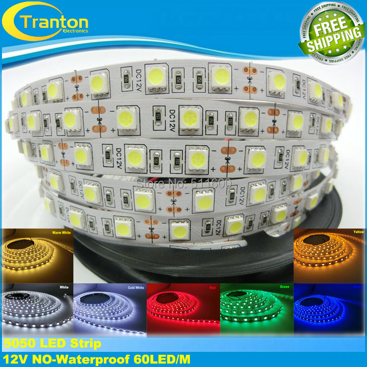 LED strip 5050 12V flexible light 60 leds/m,white warm white warm white red greed blue yellow RGB color, 5m/lot(China (Mainland))