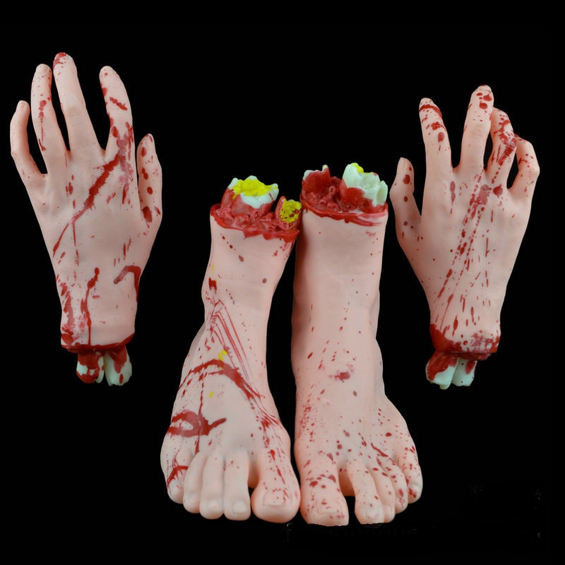 1 group The skin color terrible bloody cutting off life-size latex hand and legs Halloween props(China (Mainland))