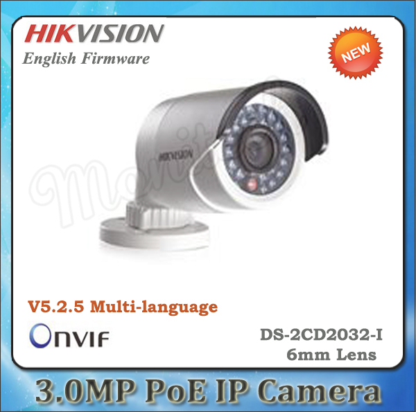 Hikvision DS-2CD2032-I 3MP 6mm lens IR Bullet Network Camera CCTV IP camera POE cam waterproof Outdoor ip camera Home security(China (Mainland))