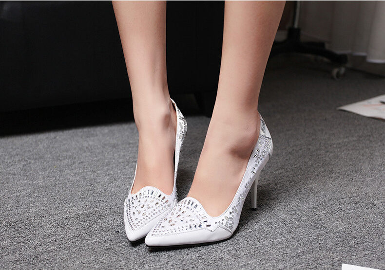 2015 White Women Bridal Shoes Fashion High Heel Pointy Toe Prom Pumps Genuine Leather Satin Rhinestones Evening Party - Dragon River store