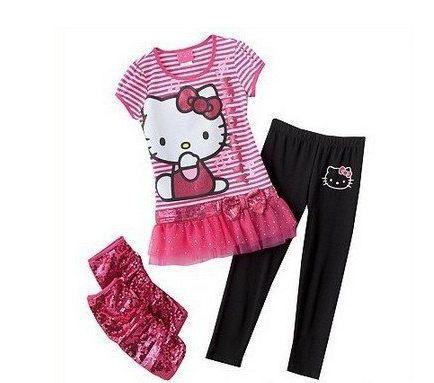Retail Fashion Summer Kids Clothes Sets 2pcs Sets Skirt Suit Hello Kitty Baby Girls Dresses Clothing Sets Shirt +Pants(China (Mainland))