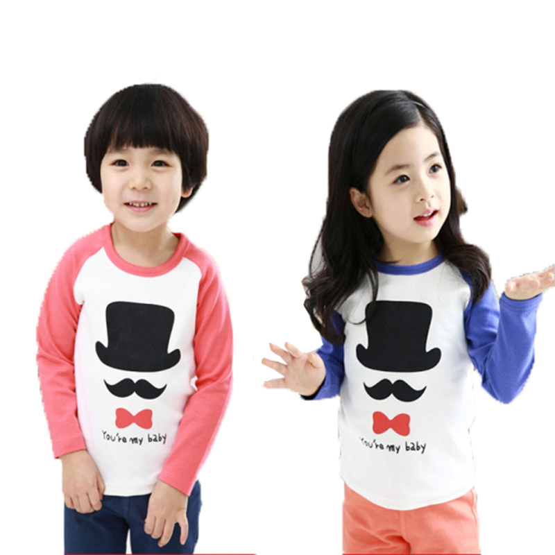 New Pink and Blue T-shirt Cute Kids Spring Autumn Clothing Children Long Sleeve Cotton Tees Boys Girls enfant Tops(China (Mainland))