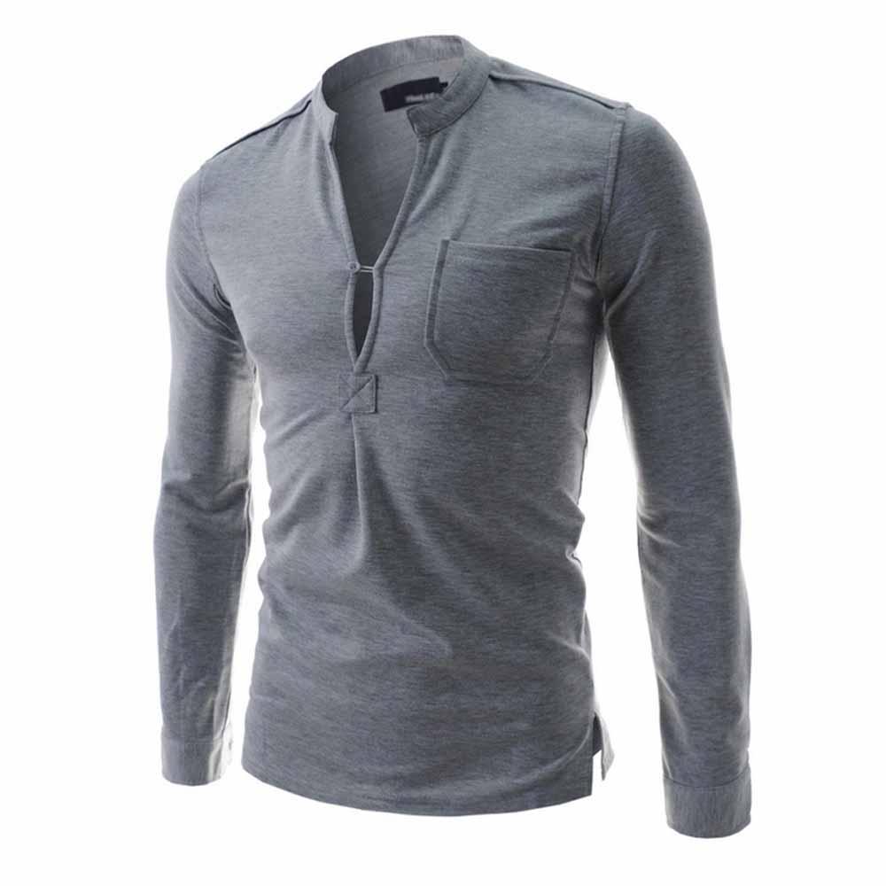 Fashion Men Tshirts Brand Design Stand Collar Men Tops Long SLeeve men's casual T-shirt Pocket Shirt Black Gray White Tees 2016(China (Mainland))