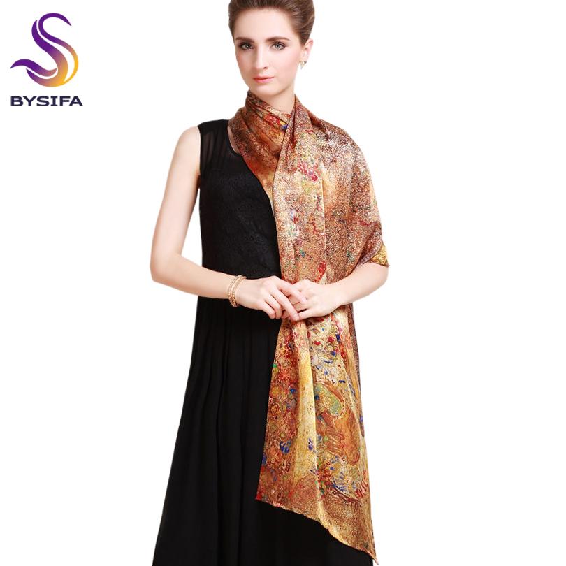 Pure Silk Scarf Shawl Female Long Design Autumn Winter Gold Brown Silk Cape Fashion 100% silk Digital Painting Silk Scarves(China (Mainland))
