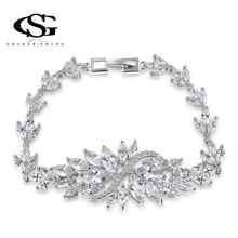 G&S  CZ Platinum Plating Luxury Flower Bracelet Arrow Heart Cuting Set Statement Jewelry for Queen 1060261956(China (Mainland))