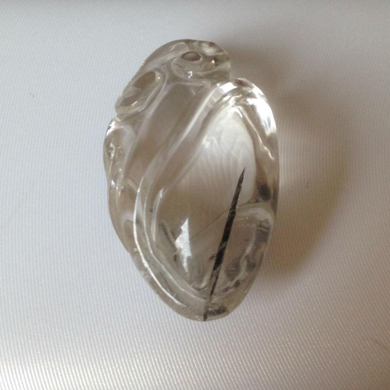 Natural quartz crystal black gold engraving healing crystal pendant(China (Mainland))