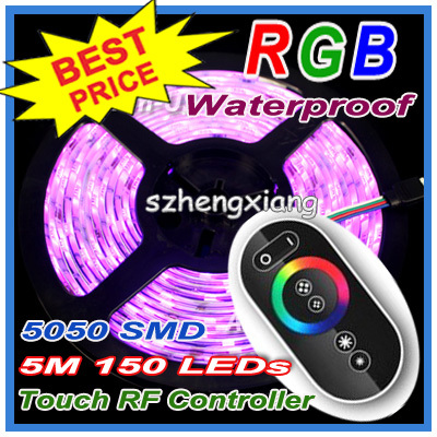 !! 5050 RGB Led Lighting SMD Strip Light Waterproof 5M 150LEDs/Roll + Wireless Touching Panel RF Remote Controller  -  Shenzhen Hengxiang Technology Co., Ltd store