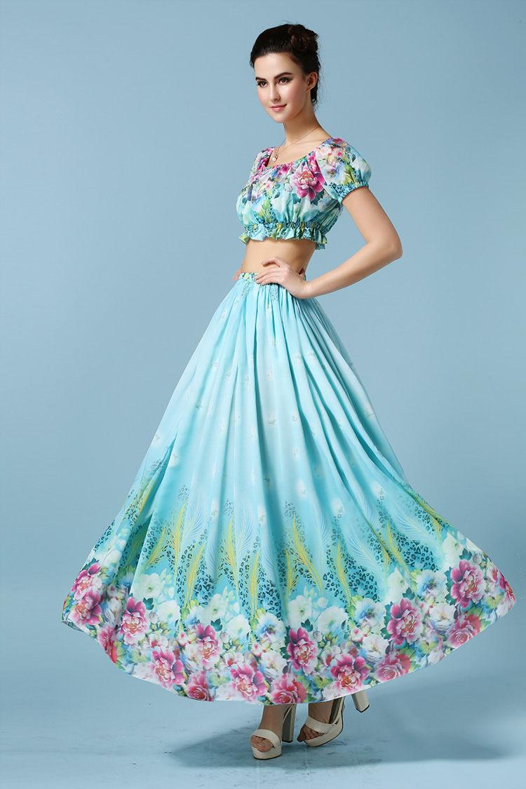 Hawaii holiday summer two pieces digital printing Latin slash collar beach dress Blue Dropshipping SGG6036LS(China (Mainland))